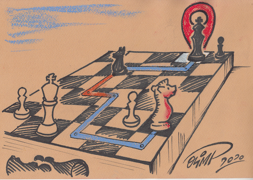 Cartoon: Cartoon by Olimp - GPS 4. (medium) by Olimp tagged olimp,cartoons,transylvania,gps,googlemaps,navigation,chess