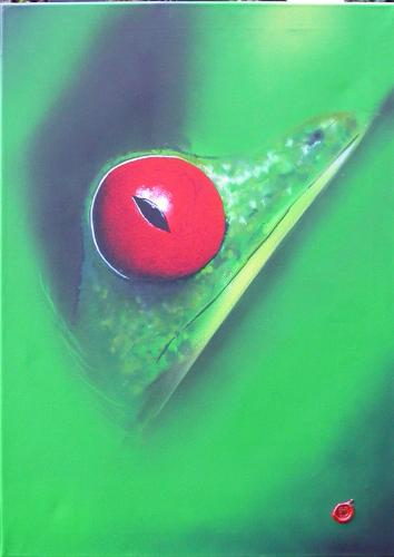 Cartoon: der frosch (medium) by MrHight tagged frosch,rote,augen,tiere,natur,leinwand