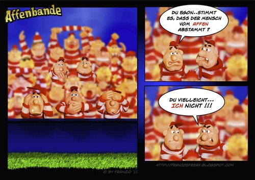 Cartoon: Die drei Affen (medium) by AlterEgon tagged bavaria,freax,claycartoon,bavarians,soccer,stadion,plasticine,football,sport,fun,three,monkeys