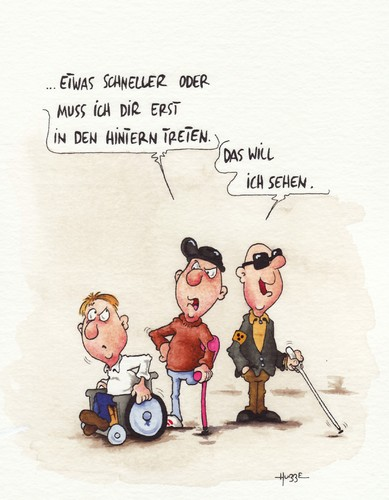 Cartoon: ... (medium) by ms rainer tagged rollstuhl,behinderung,blind