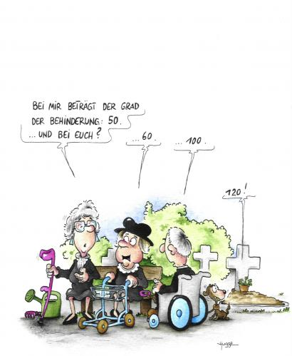 Cartoon: friedhof (medium) by ms rainer tagged behinderung,alter,friedhof