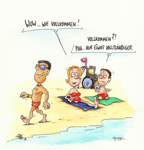 Cartoon: strand (medium) by ms rainer tagged strand,behinderung,urlaub,sonne,wasser