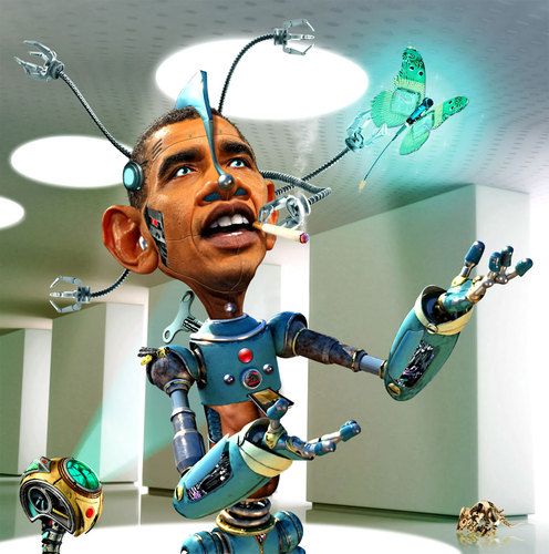 Cartoon: ObamaBot 2.0 (medium) by RodneyPike tagged barack,obama,caricature,illustration,rwpike,rodney,pike