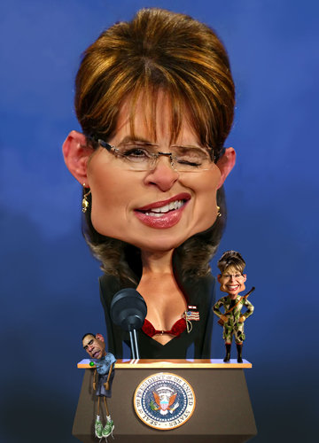 Cartoon: Sarah Palin Not So Conservative (medium) by RodneyPike tagged sarah,palin,caricature,illustration,rwpike,rodney,pike