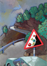 Cartoon: Danger on the road (small) by luka tagged fruit