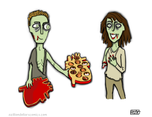 Cartoon: Be Mine (medium) by a zillion dollars comics tagged holiday,valentine,love,romance,culture,society,zombies