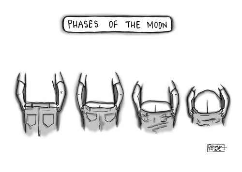 Cartoon: Phases of the Moon (medium) by a zillion dollars comics tagged nature,humans,time,nudity