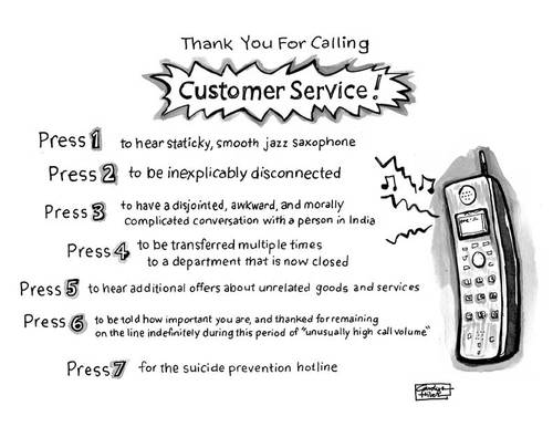 Cartoon: Thank you for calling (medium) by a zillion dollars comics tagged business,customer,service,phone,media,corporations,voice,mail,tree