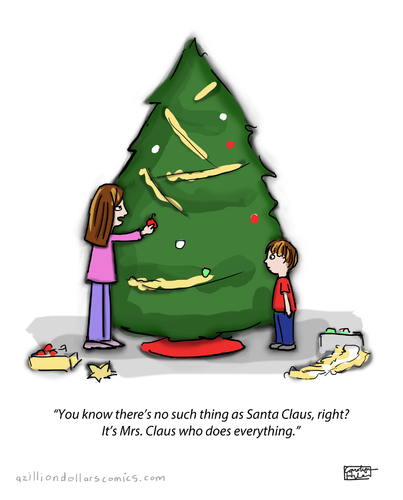 Cartoon: The Secret Is Out (medium) by a zillion dollars comics tagged christmas,holidays,santa,family,tradition,gifts,tree
