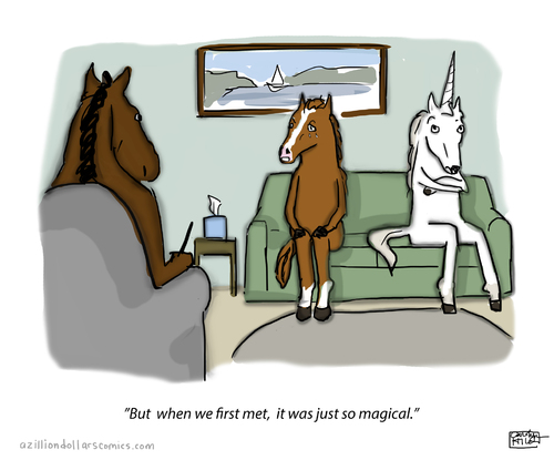 Cartoon: Things Change (medium) by a zillion dollars comics tagged relationships,romance,therapy,animals,horses,unicorns,fantasy