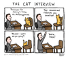 Cartoon: The Cat Interview (small) by a zillion dollars comics tagged cats,animals,employment,jobs