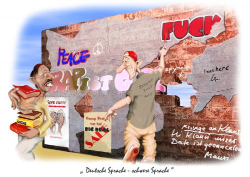 Cartoon: Deutsche Sprache (medium) by KryCha tagged deutsche,sprache,english,grafitti,cartoon,