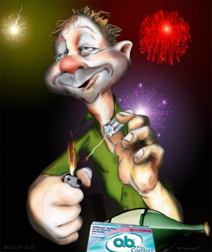 Cartoon: Happy new year! (medium) by KryCha tagged tampoon,feuerwerk,ob,