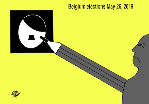 Cartoon: Belgium elections (medium) by Vejo tagged elections,belgium,black,sunday,racism