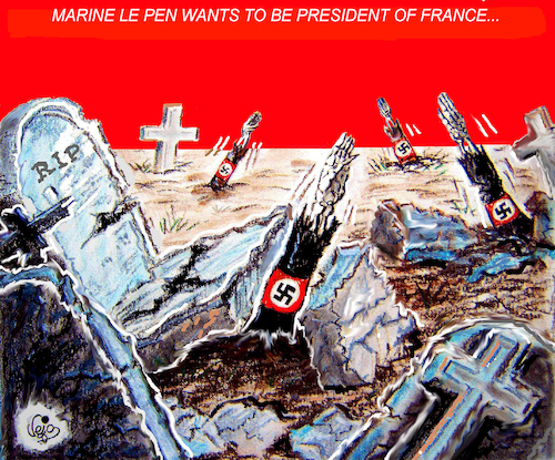Cartoon: PRESIDENTIAL ELECTIONS FRANCE... (medium) by Vejo tagged france,elections,marine,le,pen,extreme,droit,populism