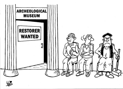 Cartoon: RESTORER... (medium) by Vejo tagged is,madness,acheology,museum
