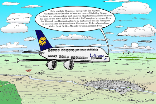 Cartoon: A380 auf Sichtflug (medium) by Alan tagged airbus,a380,lufthansa,sichtflug,flugzeug,flugobjekte,airplane,visual,flight