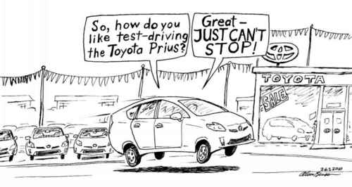 Cartoon: Just cant stop (medium) by Alan tagged toyota,prius,brake,stop,testdrive,probefahrt