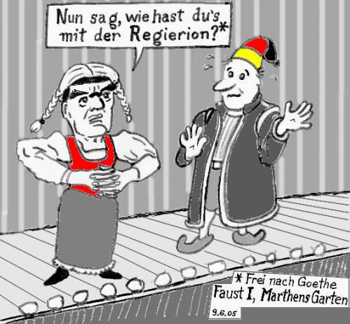 Cartoon: Schröder stellt Gretchenfrage (medium) by Alan tagged schröder,gretchenfrage,faust,goethe,wahl,regieren,bühne,
