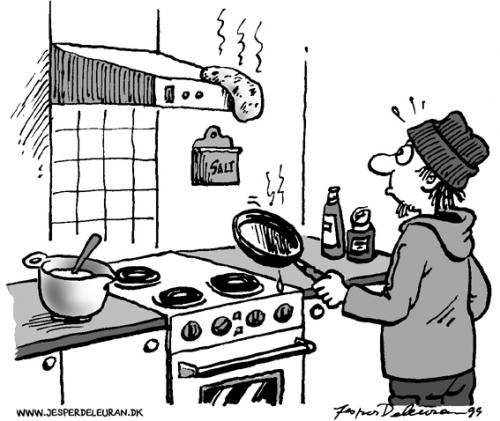 Cartoon: Cooking (medium) by deleuran tagged cooking,education,school,food,pancakes,