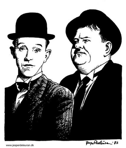 Cartoon: Laurel and Hardy (medium) by deleuran tagged comedy,comedians,movies,fun,portraits,