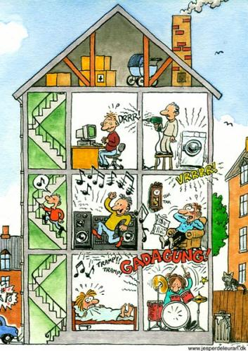 Cartoon: Noise in the house (medium) by deleuran tagged noise,houses,apartments,neighbors