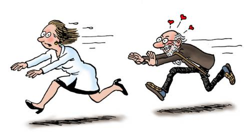 Cartoon: Old skirt-chaser (medium) by deleuran tagged old,age,nurses,nursing,homes,womanizers,