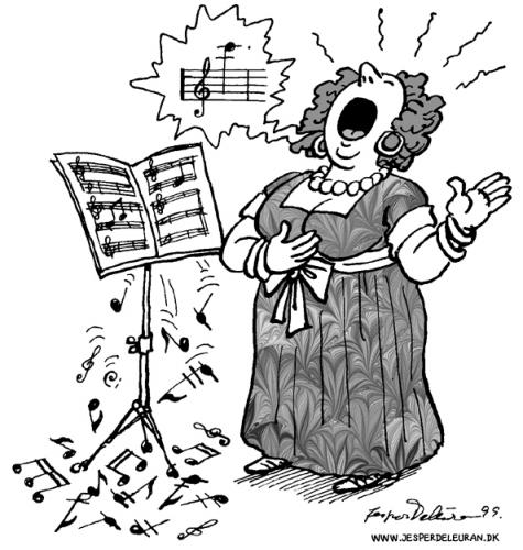 Cartoon: The opera singer (medium) by deleuran tagged opera,notes,singing,songs,sheet,