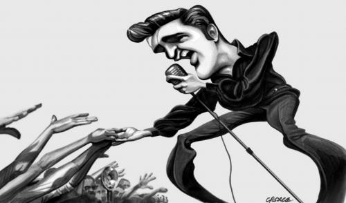 Cartoon: Elvis 56 (medium) by spot_on_george tagged elvis,presley,king,rock,roll,caricature