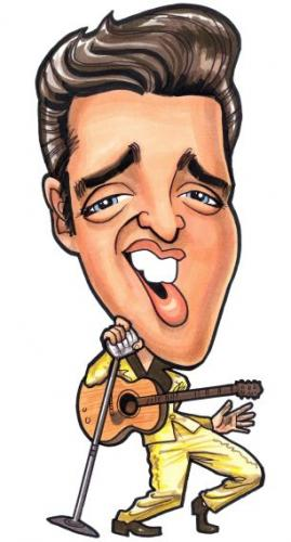 Cartoon: Elvis toon (medium) by spot_on_george tagged elvis,presley,gold,suit,caricature