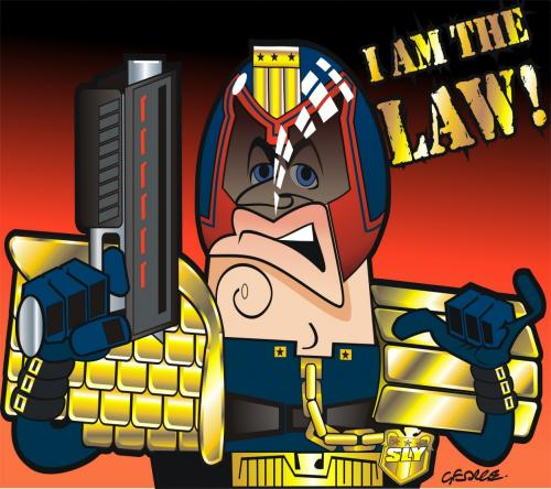 Cartoon: Judge Dredd (medium) by spot_on_george tagged judge,dredd,stlvester,stallone,caricature