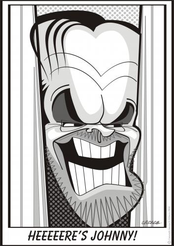 Cartoon: The Shining (medium) by spot_on_george tagged jack,nicholson,shining,stephen,king,caricature