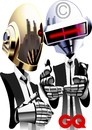 Cartoon: Daft Punk (small) by spot_on_george tagged daft,punk,caricature,gq,illustration