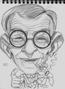Cartoon: George Burns Caricature Sketch (small) by McDermott tagged georgeburns,gracie,tvold,60s,scetchbook,pencil,drawing
