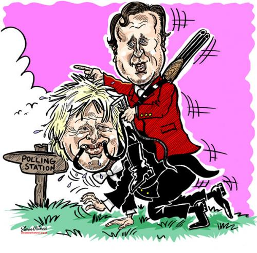 Cartoon: David Cameron and Boris Johnson (medium) by simonelli tagged david,cameron,boris,johnson,league,against,cruel,sports,conservative,tory,hunting,cartoon,caricature