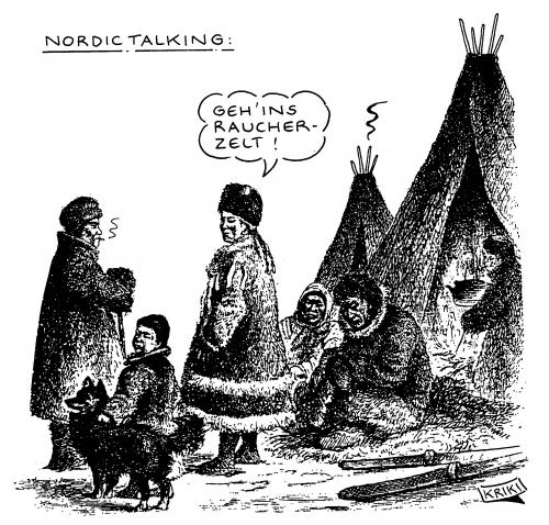 Cartoon: Nordic Talking (medium) by Kriki tagged rauchen,rauchverbot,nichtraucher,smoke,smoking,cigarettes,zigaretten,cartoon,cartoons,illustration,illustrationen,rauchen,raucher,rauchverbot,verbot,verbote,nichtraucher,zigaretten,zigarette,gesundheit,passiv,gesetz,regeln,nordic walking,kommunikation,indianer,kultur,gesellschaft,genussmittel,raucherzelt,zelt,nordic,walking