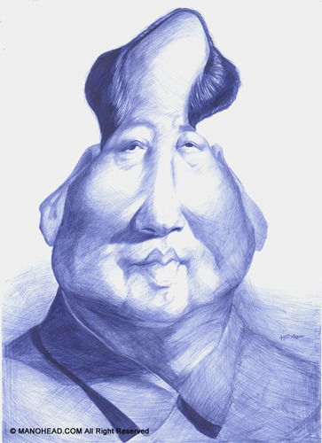 Cartoon: Mao Tse Tung (medium) by manohead tagged caricatura,caricature,manohead