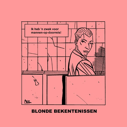 Cartoon: Blonde Bekentenissen - Doorreis! (medium) by Age Morris tagged lekkerding,domblondje,blondje,dom,blondebekentenissen,overlevenenliefde,victorzilverberg,agemorris,homo,zwak,doorreis