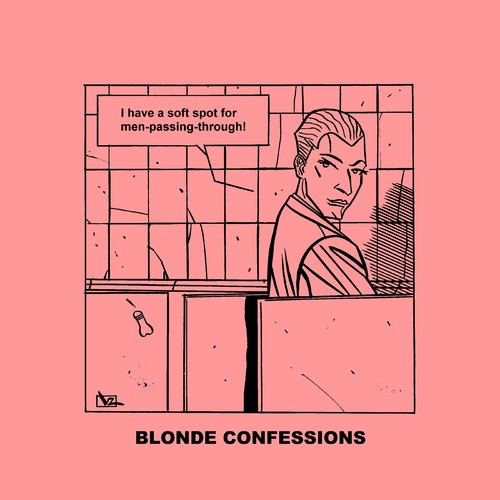 Cartoon: Blonde Confessions - Soft Spot! (medium) by Age Morris tagged tags,victorzilverberg,atomstyle,blondeconfessions,agemorris,aboutloveandlife,dumbblonde,hotbabe,gayhumour,gaytoon,gay,men,softspot,weakness,passingthrough