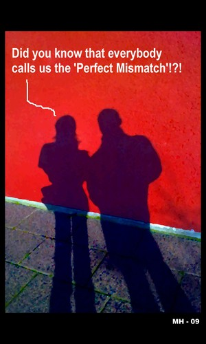 Cartoon: MH - The Perfect Mismatch (medium) by MoArt Rotterdam tagged perfect,mismatch,theperfectmismatch,everybody,couple,manandwoman,relationship,love,doubt,girltalk