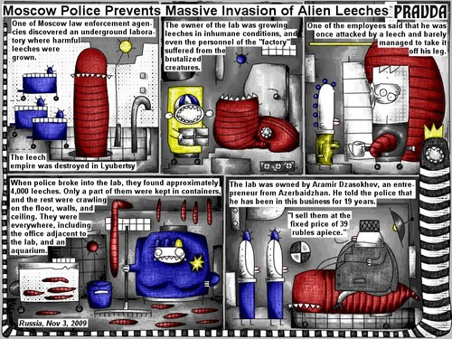 Cartoon: Invasion of alien leeches (medium) by bob schroeder tagged comic,webcomic,moscow,law,enforcement,agencies,underground,laboratory,harmful,leeches,inhumane,conditions,factory,brutalized,creatures,employees,police,containers,office,aquarium,entrepreneur,azerbaidzhan,business,price,rubles