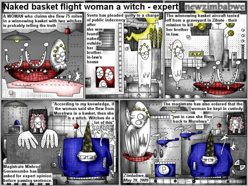 Cartoon: Naked basket flight woman (medium) by bob schroeder tagged comic,webcomic,woman,winnowing,basket,witches,public,indecency,graveyard,kill,expert,opinion,sentence,magistrate,custody