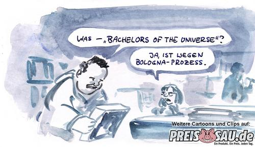 Cartoon: Bachelor (medium) by preissaude tagged bachelor,bologna,uni,streik