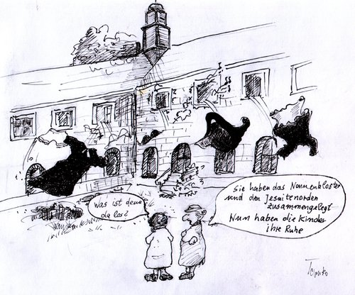Cartoon: Ende des Zölibats (medium) by Skowronek tagged kirche,priester,nonnen