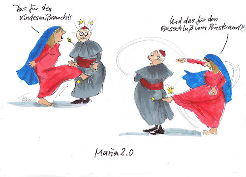 Cartoon: Maria 2.0 (medium) by Skowronek tagged maria,kirche,priester,frauen,streik,skowronek,cartoon,priesteramt,kindesmißbrauch,papst