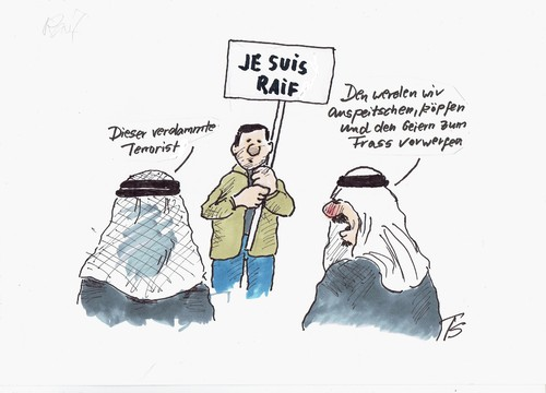 Cartoon: Saudi Arabien (medium) by Skowronek tagged islam,scheich,todestrafe,sharia,demonstration,blogger