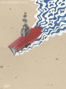 Cartoon: Aircraft carrier (small) by Jesse Ribeiro tagged war,peace,aircraft,carrier,ship,desert,sea,death,invasion