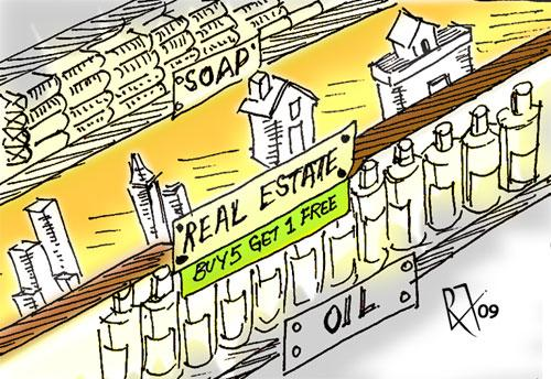 Cartoon: Real Estate - property crash (medium) by cindyteres tagged construction,doom,real,estate,cartoon,humour,drawing,sketch,freehold,marketing,remy,francis,animator,dubai