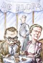 Cartoon: Sarte and Simone (small) by Bob Row tagged sartre,simone,debeauvoir,cafe,philosophy,paris,existencialism