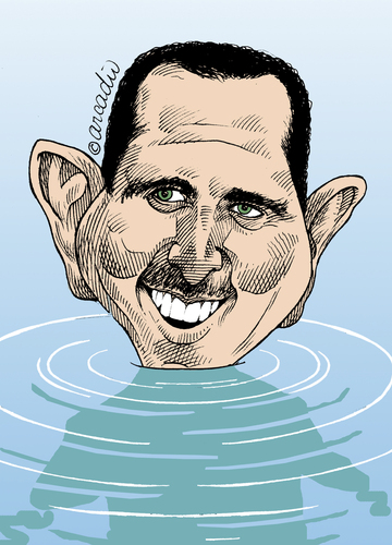 Cartoon: Assad near the end. (medium) by Cartoonarcadio tagged assad,syria,middle,east,asia,war